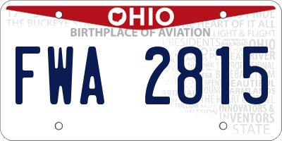 OH license plate FWA2815
