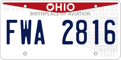 OH license plate FWA2816