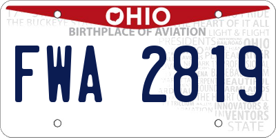 OH license plate FWA2819