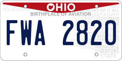 OH license plate FWA2820