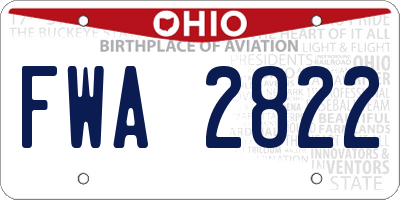 OH license plate FWA2822