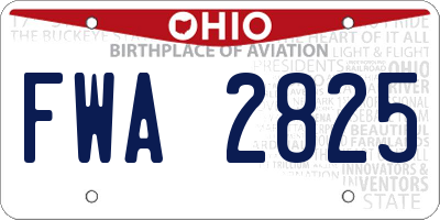 OH license plate FWA2825