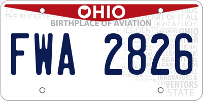 OH license plate FWA2826