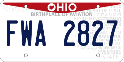 OH license plate FWA2827