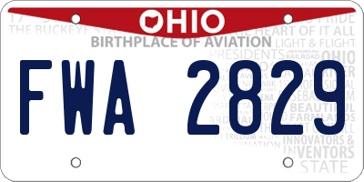 OH license plate FWA2829