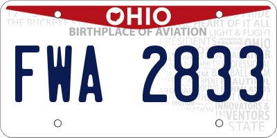 OH license plate FWA2833