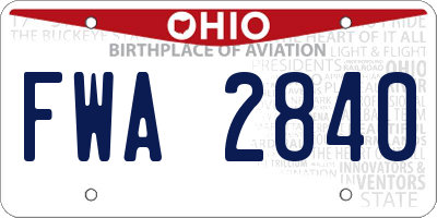 OH license plate FWA2840