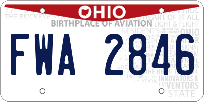 OH license plate FWA2846