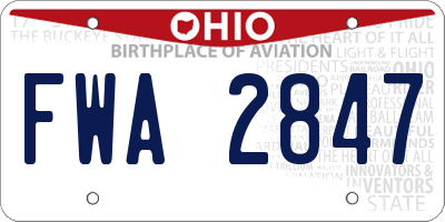 OH license plate FWA2847