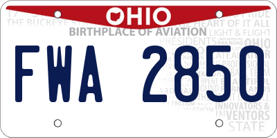 OH license plate FWA2850