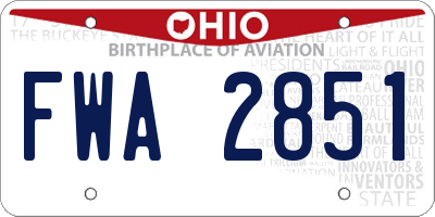 OH license plate FWA2851