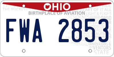 OH license plate FWA2853