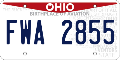 OH license plate FWA2855