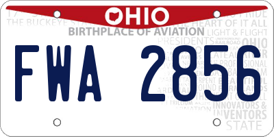 OH license plate FWA2856