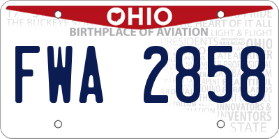 OH license plate FWA2858