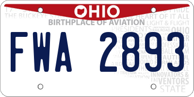 OH license plate FWA2893