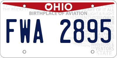 OH license plate FWA2895