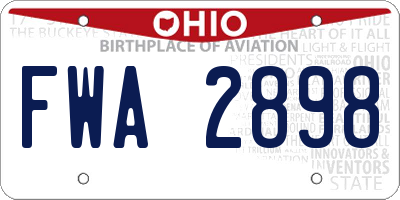 OH license plate FWA2898