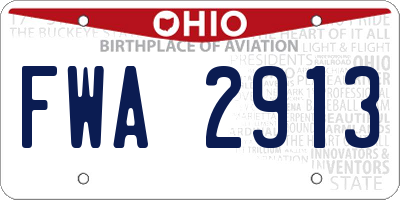 OH license plate FWA2913