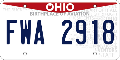 OH license plate FWA2918