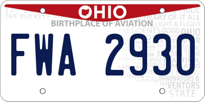 OH license plate FWA2930