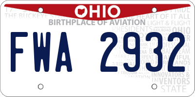 OH license plate FWA2932