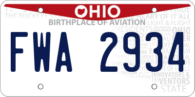 OH license plate FWA2934