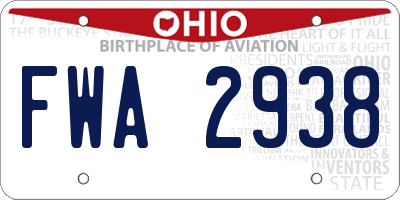 OH license plate FWA2938