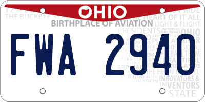 OH license plate FWA2940