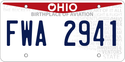 OH license plate FWA2941