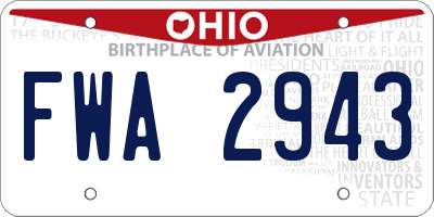 OH license plate FWA2943
