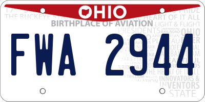 OH license plate FWA2944