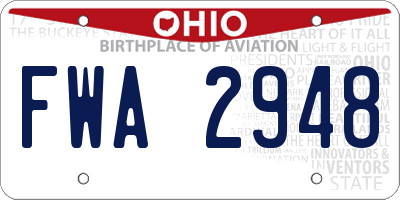 OH license plate FWA2948