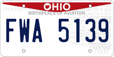 OH license plate FWA5139