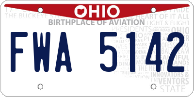 OH license plate FWA5142