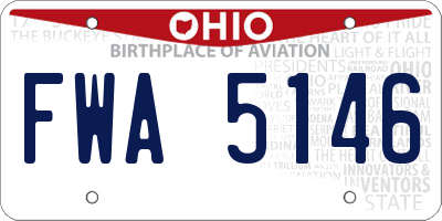OH license plate FWA5146