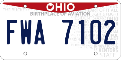 OH license plate FWA7102