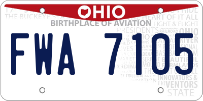 OH license plate FWA7105