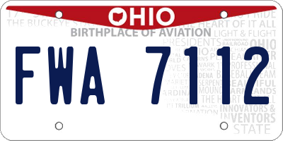 OH license plate FWA7112