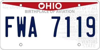 OH license plate FWA7119