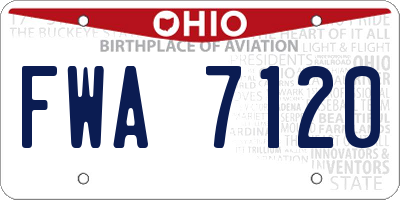 OH license plate FWA7120