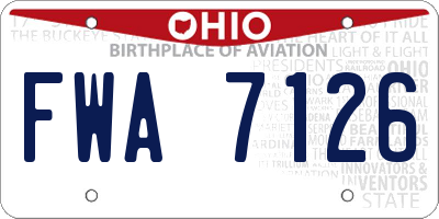 OH license plate FWA7126