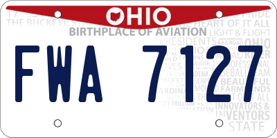 OH license plate FWA7127