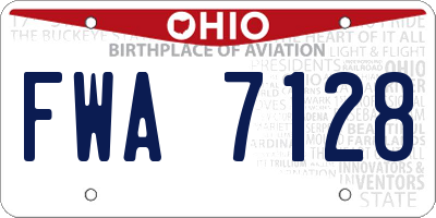 OH license plate FWA7128