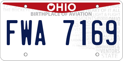 OH license plate FWA7169