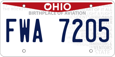 OH license plate FWA7205