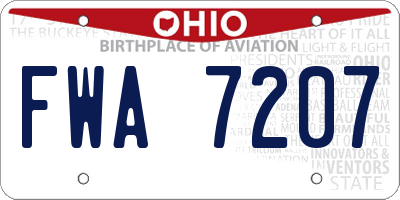 OH license plate FWA7207