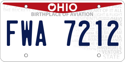 OH license plate FWA7212