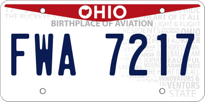 OH license plate FWA7217