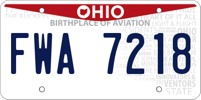 OH license plate FWA7218